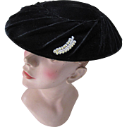 Saucy Mid Century Black Velvet Saucer Hat with Rhinestone Decoration
