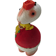 Vintage Nodder Bird Candy Container Flocked with Red Shirt and Cap for Easter
