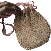 Lovely Tatted Drawstring Bag or Purse for Doll or Child in Beige and Pink