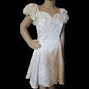 1980's Gunne Sax Cream Brocade Cocktail Short Dress with Puffed Sleeves