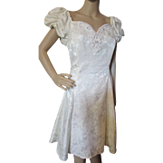 1980's Gunne Sax Cream Brocade Cocktail Short Dress with Puffed Sleeves