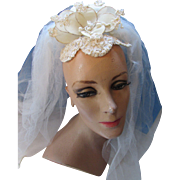 Vintage Bridal Wedding Veil with Cream Tone Petals in Organdy and Applique