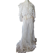 Ladies Victorian Edwardian Two Piece Summer Outfit Confection of Lace and Net