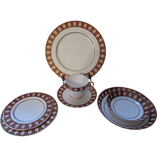 Mikasa China Cups and Saucers Westhampton Pattern 1974 Design Red and Gold