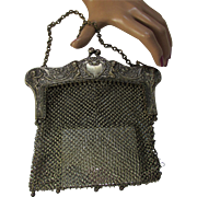 Silver Tone Mesh Purse Art Nouveau Style with Cupids and Hearts