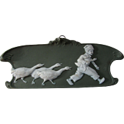 Dresden Green Jasperware Plaque Boy and Geese