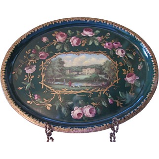 Vintage Chatsworth Oval Tin Tray by Patricia Machin Made in England for Barnsley Canister Company in Greens and Pinks