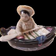 Tiny Porcelain Fairing Trinket Box Boy in Boat