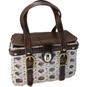 White Wicker Box Purse with Faux Leather Buckles Encore Purses Made in Hong Kong