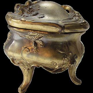 Ornate Art Nouveau Jewelry Casket Repousse Flowers