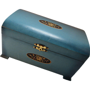 Teal Painted Wood Jewelry or Trinket Box with Flower Decal by McGraw Box Company