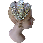 Silver Sequin Head Band or Hat for Wedding, Cocktail Party or Prom