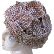 Vintage Mid Century Toque Hat in Putty Flocked and Seed Bead Net