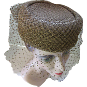 Vintage Pill Box Hat in Bronze Flocked Net Maria Pia