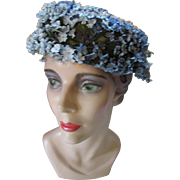 Mid Century Hat in Tiny Blue and White Flowers Costume or Theater Production