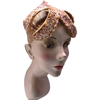 Mid Century Hat Peach Sequin Banded Cocktail Hat