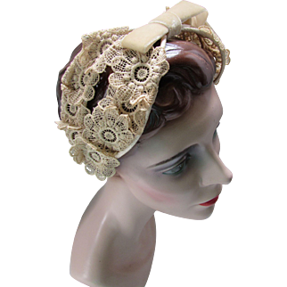 Vintage Head Band in Ecru Lace and Velvet