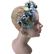 Sweet Mid Century Head Band Half Hat in Baby Blue Stephanotis Flowers
