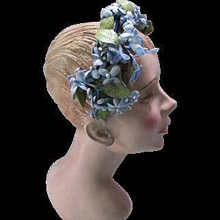 Sweet Mid Century Head Band Half Hat in Baby Blue Stephanotis Flowers