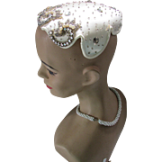 Mid Century Cocktail Hat in Clamshell Design Cream Tone Seed Beads Faux Pearls by Desi