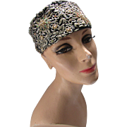 Mid Century Pillbox Hat in Metallic Thread Gold and Green Toque by Maxim