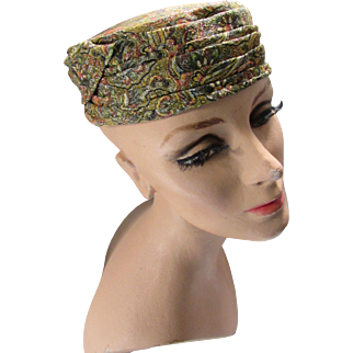 Mid Century Pill Box Hat with Gold Tone Metallic Thread on Paisley Brocade