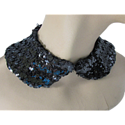Black Sequin Collar Detachable Collar Mid Century Design