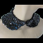 Black Sequin Collar Detachable Collar Mid Century Design