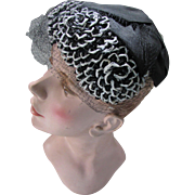 Black and White Half Hat by Maxine with Large Ruffled Petals