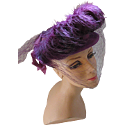 Gorgeous High Fashion Hat in Grape Felt and Feathers Germaine Montabert