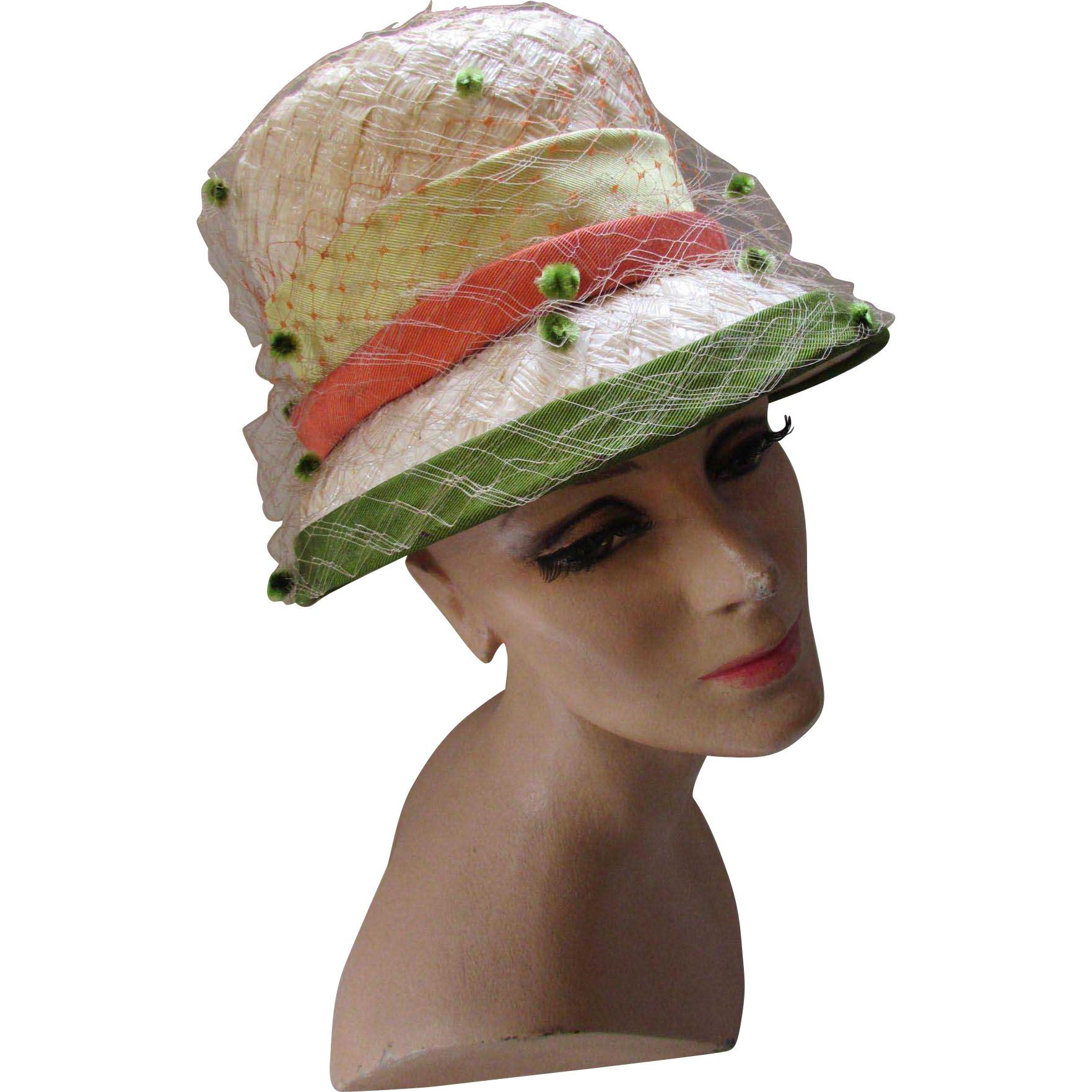 Mid Century Lampshade Hat in Cream Cellophane with Bands of Celery and Coral Ken Blair Exclusive