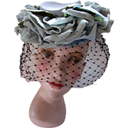 Small Topper Hat in Baby Blue with Spray Teal Tone Velvet Roses La Derniere