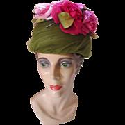 Elegant 1960 Hat in Avocado Net and Huge Pink Roses Movie Made Casper Davis