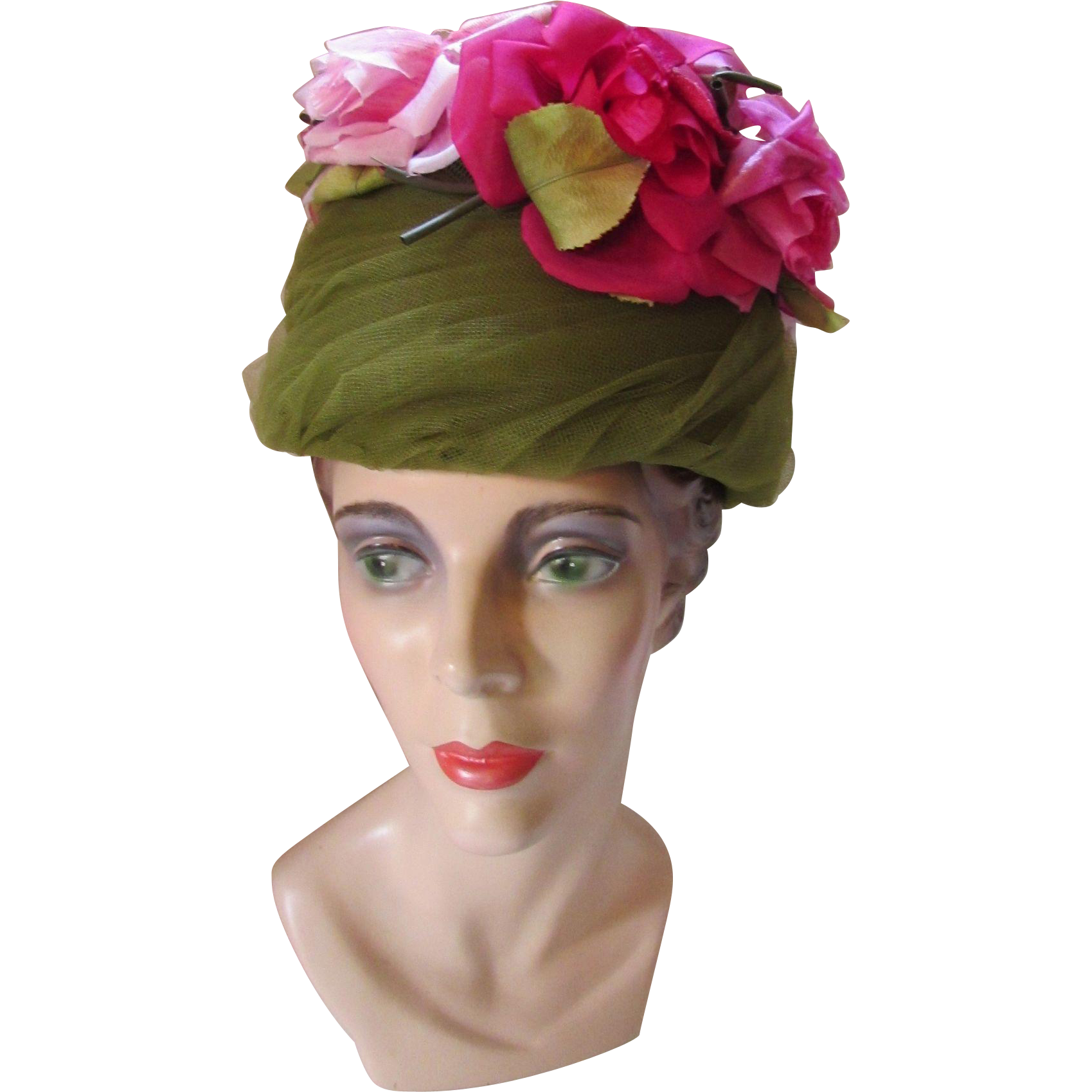 Elegant 1960 Hat in Avocado Net and Huge Pink Roses Movie Made Casper Davis