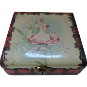 Celluloid Dresser Box Portrait of Pretty Lady and Tartan Plaid Edges
