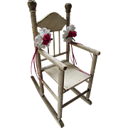 Wood Doll Rocking Chair Painted in Cream with Twisted Dowels and Spindle Back