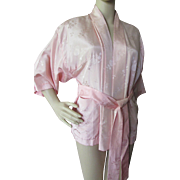 Kimono Style Bed Jacket in Peachy Pink Silk Brocade Made in Japan