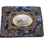 Victorian Era Photo Album Plush Cover with Lithograph of Racing Theme 41 Cabinet Cards