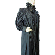 Victorian Era Black Mourning Wrapper with Ruffled Muffler 1890-1910