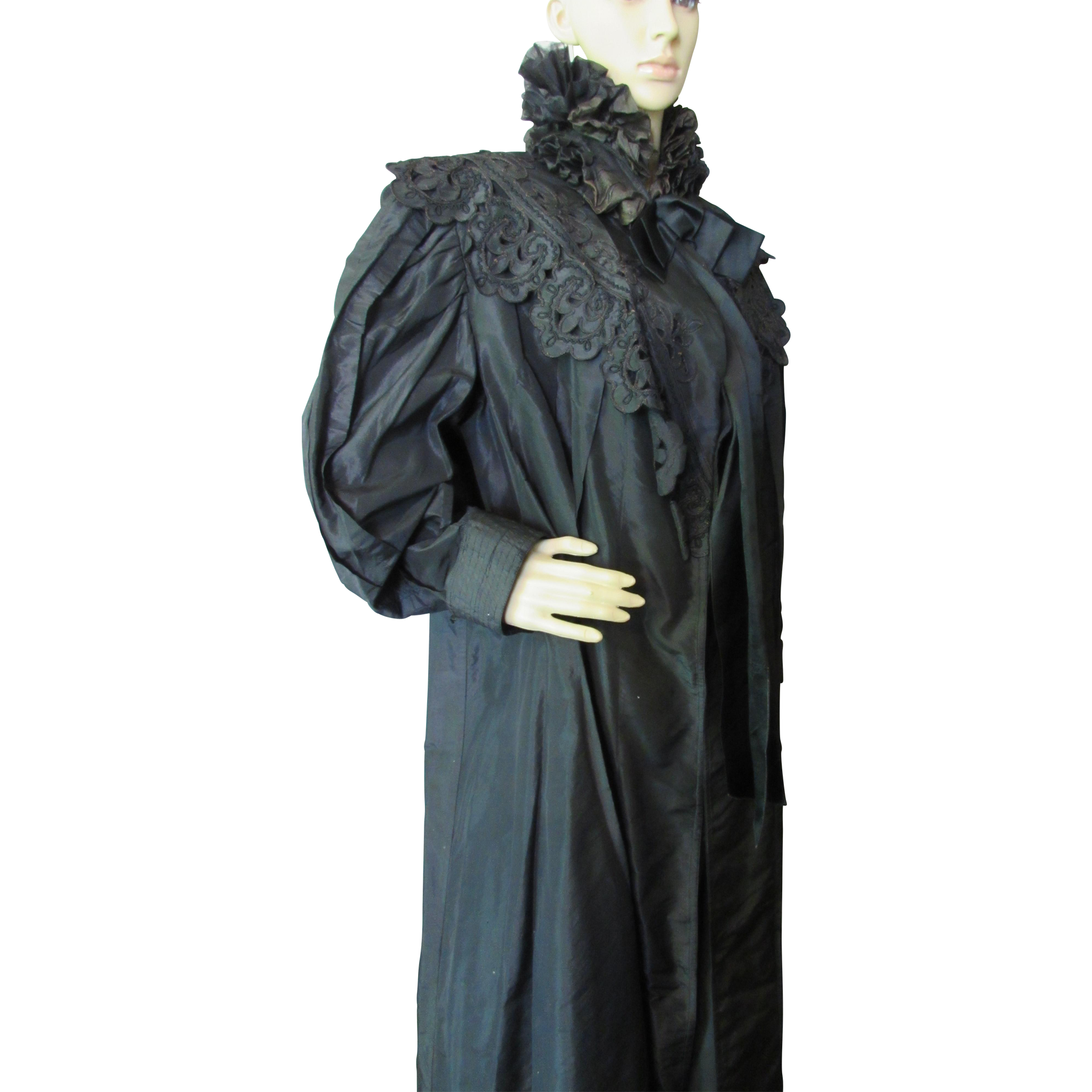 Victorian Era Black Mourning Wrapper with Ruffled Muffler 1890-1910