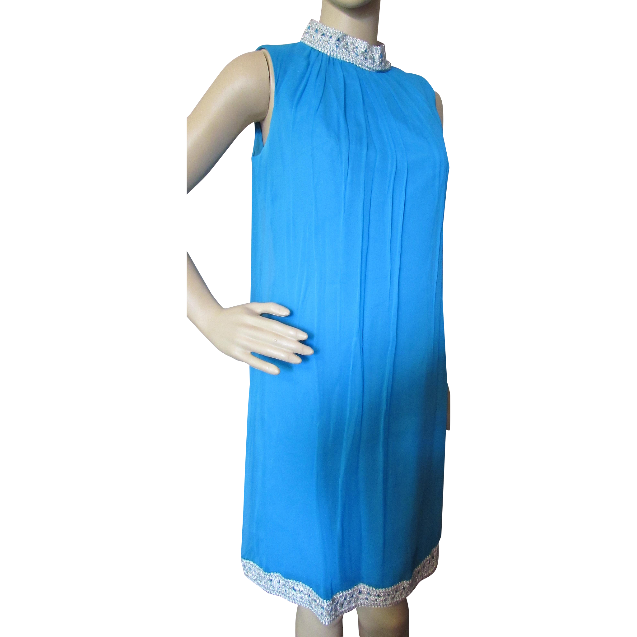 Mod '60's Style Cocktail Dress in Turquoise Chiffon with Silver Tone Trim