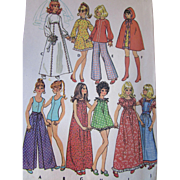 Pattern Teen Doll Fashion Trousseau McCall's 3429 1972 Uncut