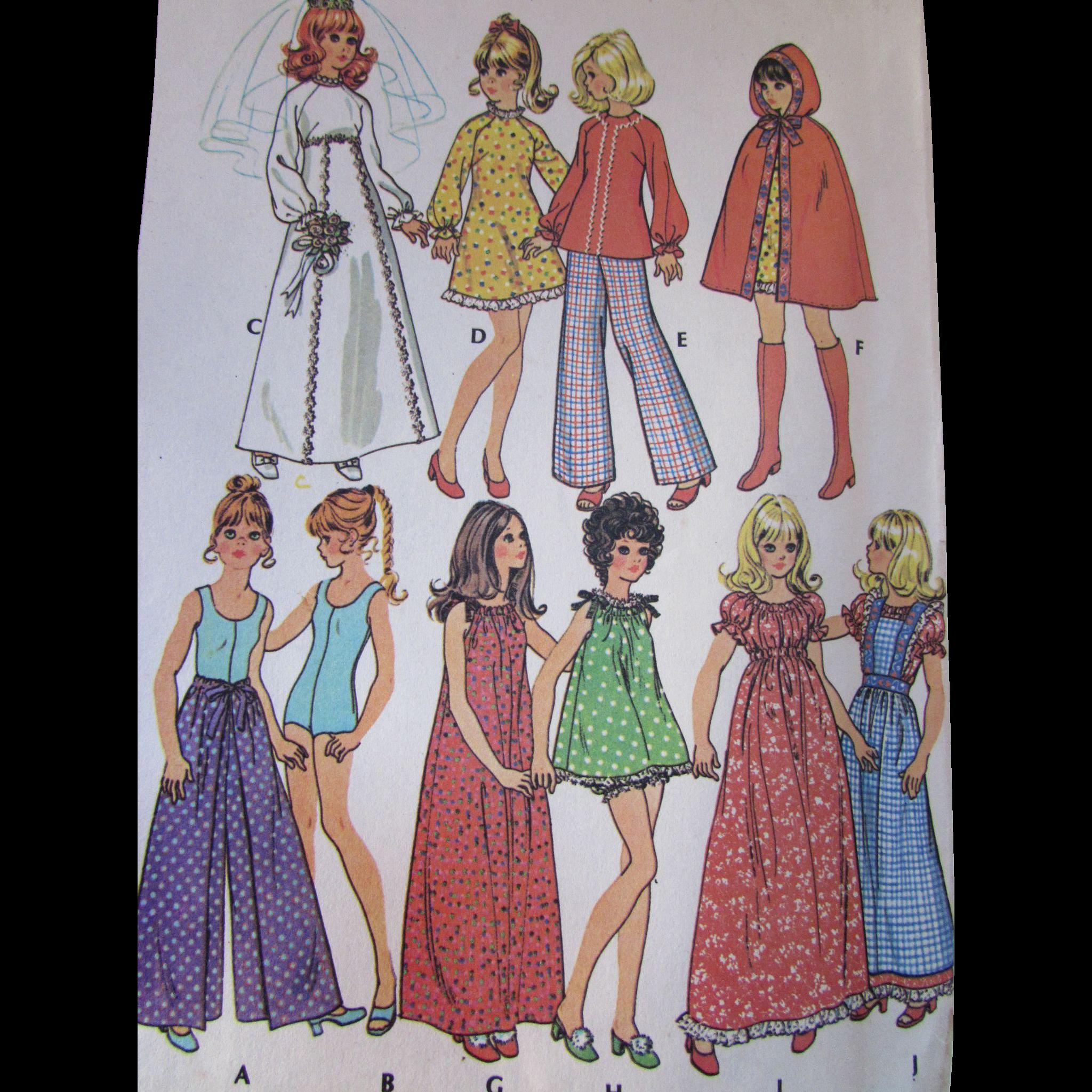Pattern Teen Doll Fashion Trousseau McCall's 3429 1972 Uncut