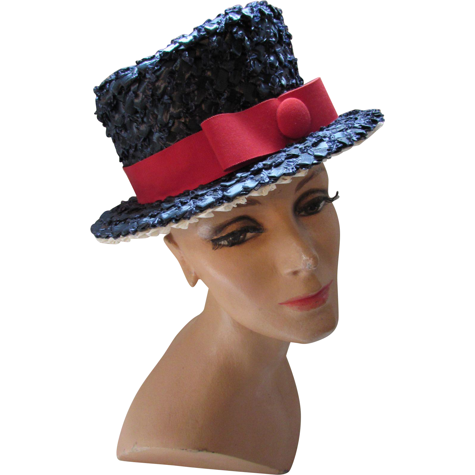 Red White and Blue Lampshade Style Hat by Betmar Navy Cellophane Red Ribbon Band
