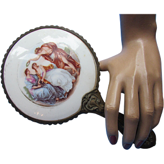 Romantic Style Mirror with Porcelain Courting Scene and Embossed Handle