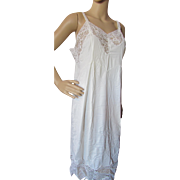Vintage Lingerie Full Slip in White Nylon with Lace Inserts Real Silk Company Indianapolis Size 42 Original Package
