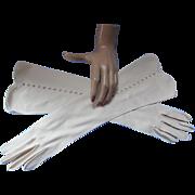 Vintage Classic Gloves in Beige with Cross Hatch Open Work