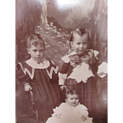 Victorian Era Photograph Cabinet Card of Three Children in Full Victorian Dress