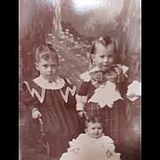 Victorian Era Photograph Cabinet Card of Three Children in Full Victorian Dress