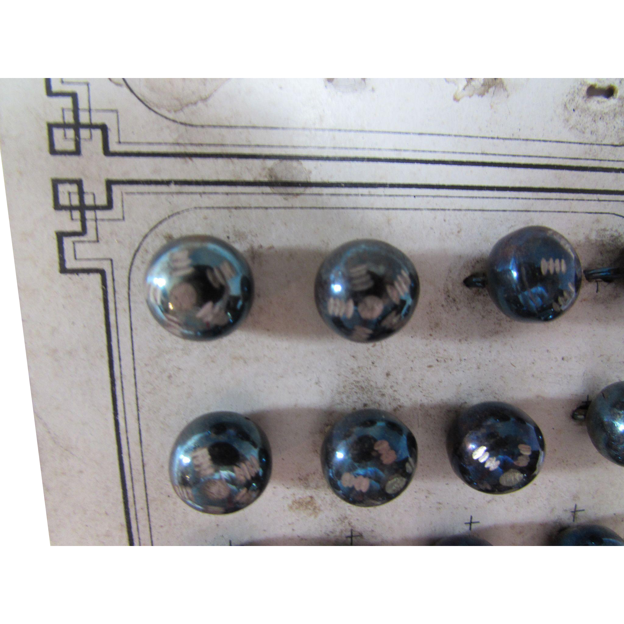 Early 20th Century Metal Ball Buttons Iridescent Blue and Silver Tone on Original Card
